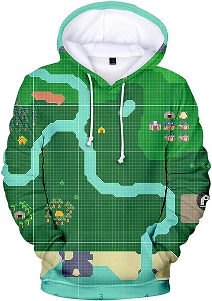 Silver Basic Animal Crossing New Horizons Abbigliamento Felpa con Cappuccio 3D Girocollo per Bambini