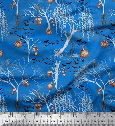 Soimoi Blue Georgette Viscose Fabric Dry Tree,Bats & Lantern Halloween Printed Craft Fabric by The Yard 42 Inch Wide -