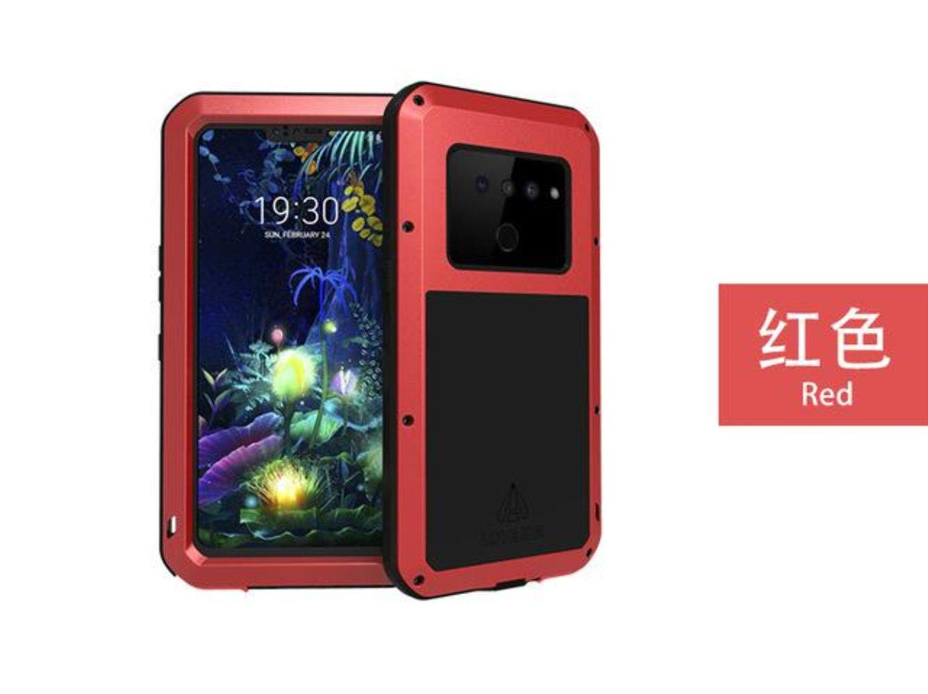 Metal Armor Heavy Duty Protective Case for Lg V50 Thinq Case Shockproof Full Body with Gorrila Glass Cover Lg V50 Thinq Cover,Red,for LG V50 ThinQ