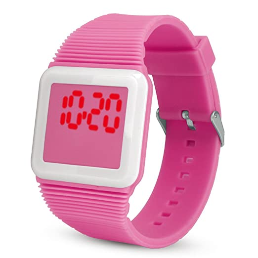 Loolik Relojes Infantiles,Casual Colorida Case Digital Analógico Electrónica del Silicón de Digitaces Deportes Reloj de los niños (Rosa Oscuro): Amazon.es: ...