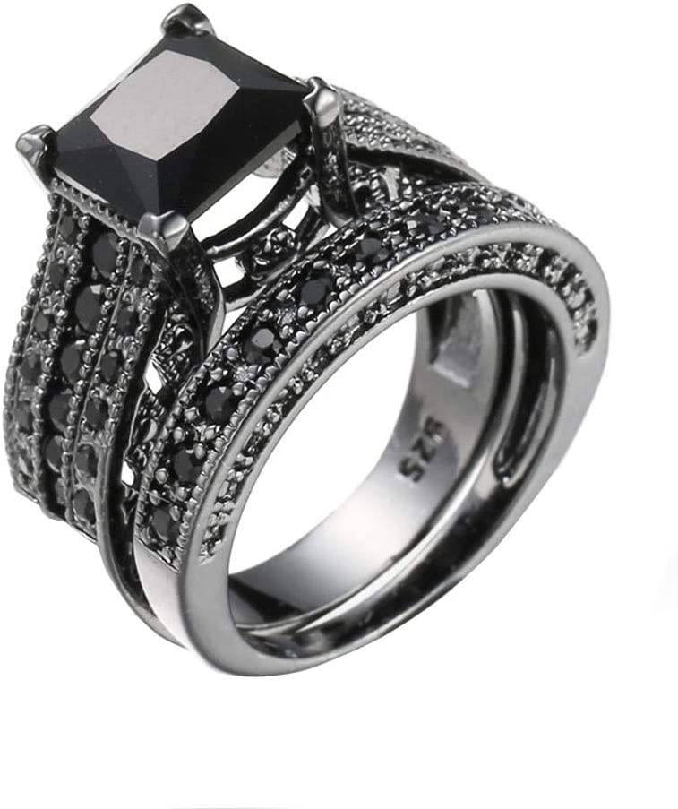 Amazon Com Haluoo 925 Sterling Silver Wedding Rings 2 Pcs Square Engagement Ring Set Black Cubic Zirconia Simulated Diamond Anniversary Promise Rings Bridal Sets Sports Outdoors