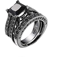 Haluoo 925 Sterling Silver Wedding Rings 2 Pcs Square Engagement Ring Set Black Cubic Zirconia Simulated Diamond…