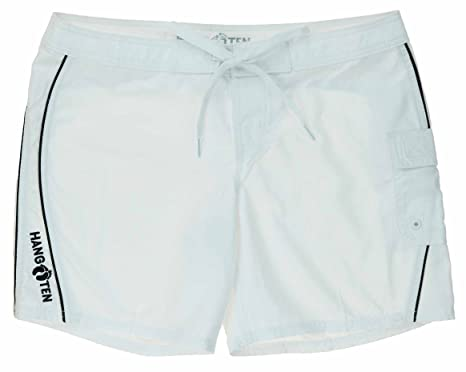 07990eeae7 Hang Ten Womens Quick Dry Board Short (White with Black Piping) at ...