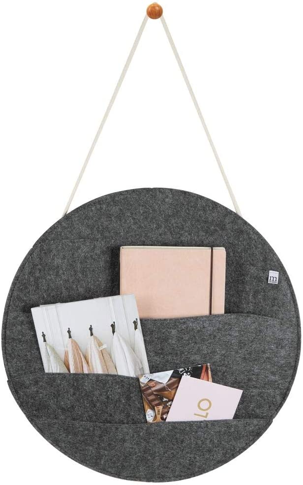 mDesign Decorative Soft Felt Hanging Storage Organizer - Round Mail Sorter/Letter Holder with Rope, Wall Mount Wood Knob - 4 Wide Pockets - for Entryway, Bedroom, Home Office, Dorm Room -Charcoal Gray