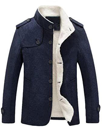 41e2db1b8e Lavnis Men s Cotton Blend Jacket Casual Stand Collar Single Breasted Trench  Overcoat Dark Blue XS