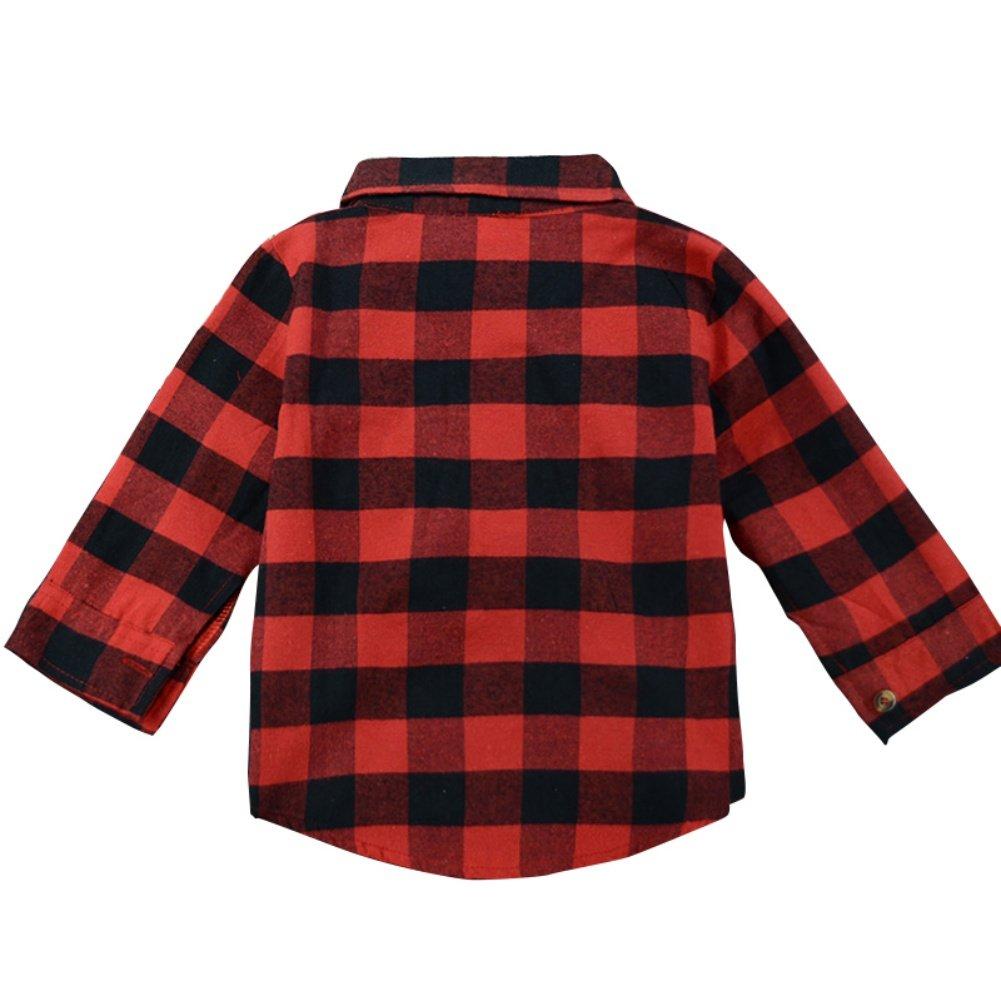 Soly Tech Kids Girls Boys Plaid Shirts Long Sleeve Buttons Fall Tops and Blouse