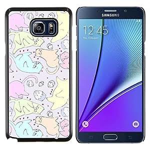 EJOOY---Cubierta de la caja de protección para la piel dura ** Samsung Galaxy Note 5 5th N9200 ** --Gatos de la magdalena del dibujo del arte colorido