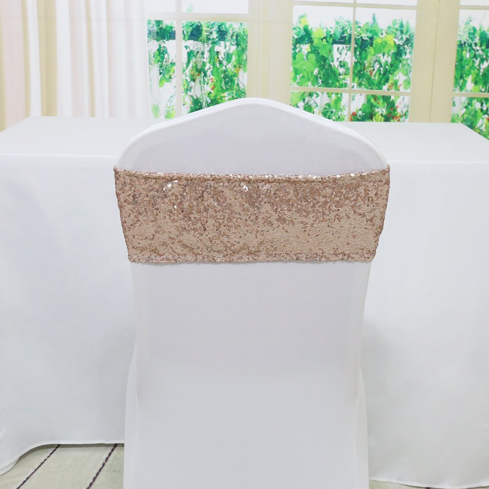 Excellent Trlyc 30Pcs 4X16 Rose Gold Spandex Sequin Chair Sashes Wedding Sequin Chair Sash Decoration Alphanode Cool Chair Designs And Ideas Alphanodeonline