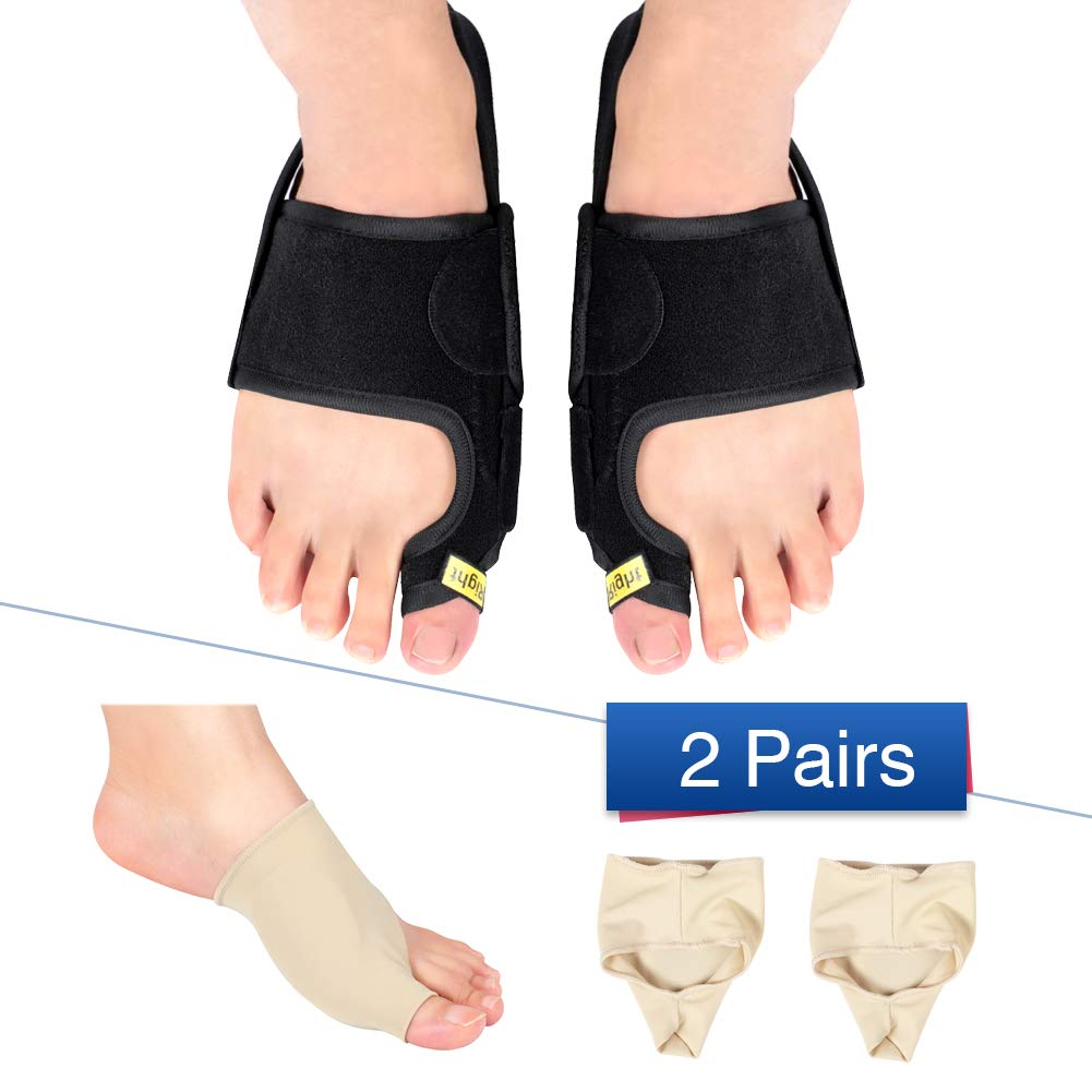 Bunion Toe Corrector Straightener with Gel Bunion Sleeve Kits for Men and Women, Bunion Splint Brace Support for Hallux Valgus, Overlapping Toe and Tailors Bunion for Day and Night Use by Yosoo Health Gear