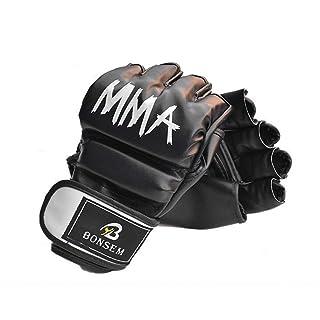Un Paio/Set Comodi Guanti da Boxe MMA Morbido PU Mezzo Dito Design Grappling Punching Bag Training Guanti per Adulti