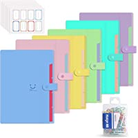6 Pack Plastic Expanding File Folder 5 Pocket,Accordion Document Organizer,A4 Letter Size,with 80Pcs Colored Paper Clip and 48Pcs File Folder Labels for School Office Business Use