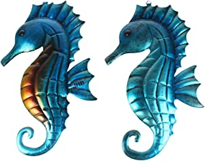 Lathamsea Ocean Sea Metal Seahorse Wall Art Decor,Hippocampus Wall Sculpture Set Of 2,Hanging Beach Theme Decorations Blue Sea Life Sculpture For Patio, Porch Or Fence