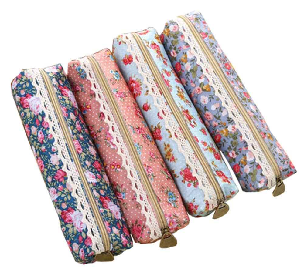 LE BI You 4pcs Retro Flower Floral Lace Pencil Pen Case Cosmetic Makeup Bag Zipper Pouch Pursee 4 (Longer Size 2144.5cm)
