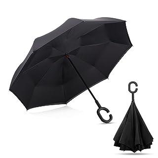 AIGUMI innovador paraguas impermeable reversible plegable de doble capa bloqueador solar de bloqueo ambiental (negro) ...