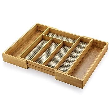 Ecooe Erweiterbares Bambus Besteckkasten Besteckeinsatze Fur Die