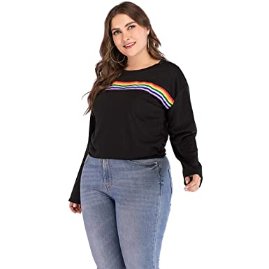 ccdab280848408 Yii ouneey Plus Size Crop Tops for Women Rainbow Striped Long Sleeve Casual  Tunic t Shirts