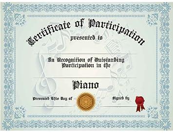 Amazon.com : Piano Participation Certificate, Pack of Ten ...