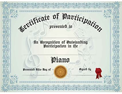amazon com piano participation certificate pack of ten
