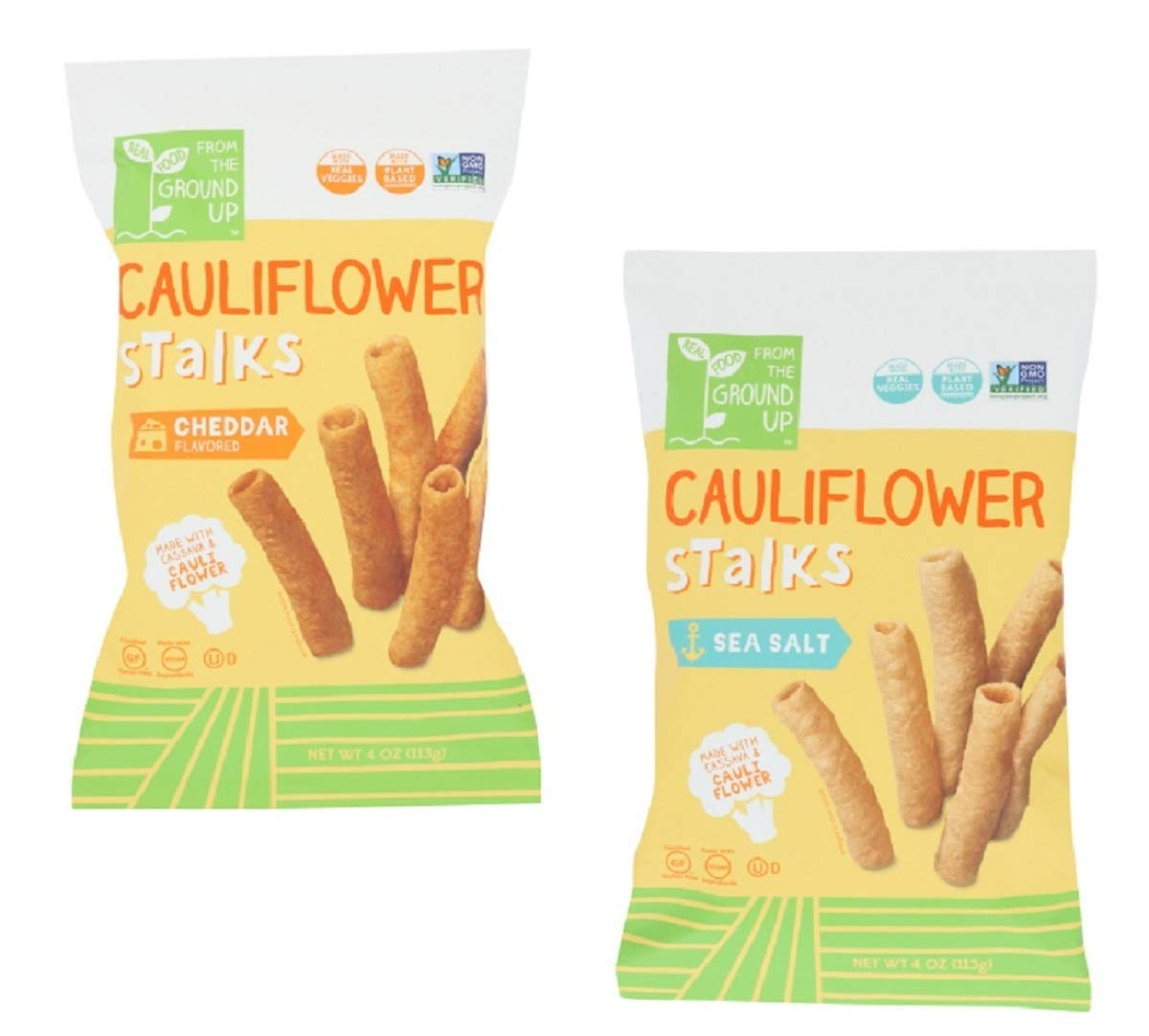 Real Food From the Ground Up Cauliflower Stalks Variety Bundle of TWO Flavors: One Bag Each of Sea Salt and Cheddar (2 Bags) by Bark & Lindy