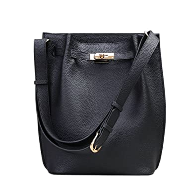 Amazon.com  Ainifeel Women s Genuine Leather Bucket Shoulder Handbags Hobo  Purse (Black)  Shoes 343193482ffb3