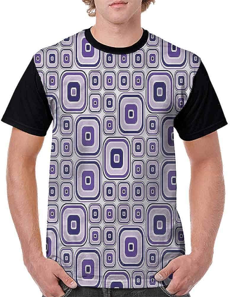 BlountDecor Cotton T-Shirt,Big Small Rectangles Fashion Personality Customization