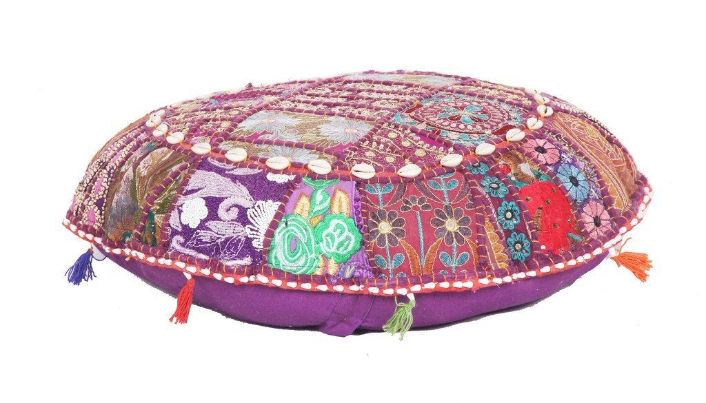 HANDMADE INDIAN ANTIQUE ROUND OTTOMAN POUF STOOL FLOOR CHAIR POUFFE Jaipur Textile Hub
