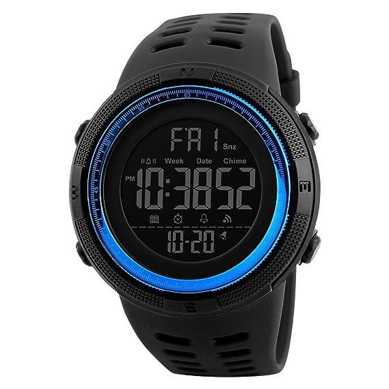 TONSHEN Digitales Relojes de Hombre Deportivos Militares Táctica 50M Resistente Agua Outdoor LED Display Multifuncional Electrónica