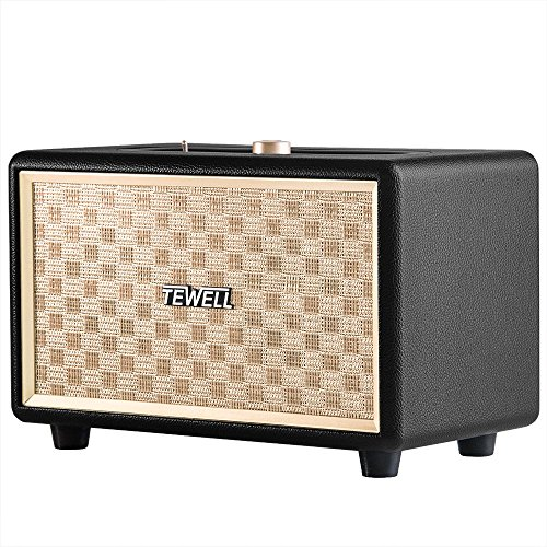 TEWELL Bluetooth Speaker, Retrorock 24W AC Powered Vintage Speakers with Powerful Bass, Stereo Sound for Party, Bedroom, Living Room, Study (Black)