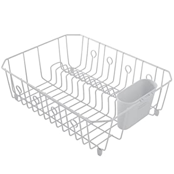 Lovely Rubbermaid AntiMicrobial In Sink Dish Drainer With Silverware Cup, White,  Large (FG6032ARWHT