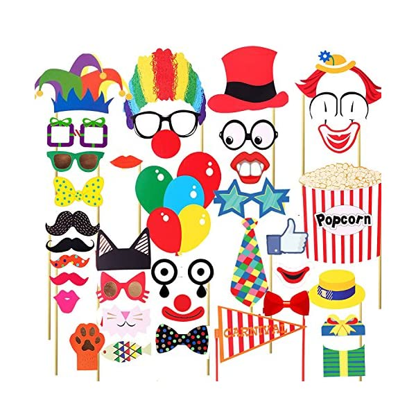 Losuya 36pcs Funny Party Photobooth Props DIY Kit Moustache Lips Tie Hats Red Nose Circus Clown Cosplay Photo Prop For Carnival Wedding Birthday And