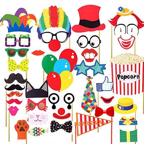 Losuya 36pcs Funny Party Photobooth Props DIY Kit Moustache Lips Tie Hats Red Nose Circus Clown Cosplay Photo Prop for Carnival Party, Wedding, Birthday and Graduation (Carnival Themed Wedding)
