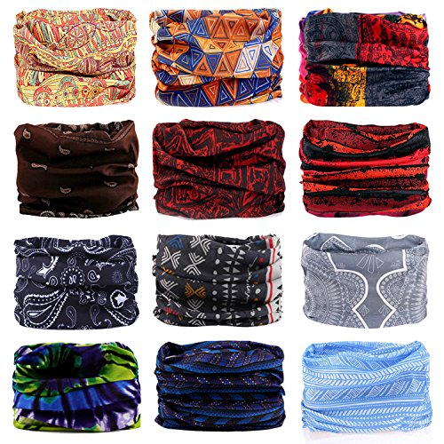 Headband, 12PCS & 9PCS Headwear 12-in-1 Multifunction Stretchable Magic Scarf Head Wrap Sport Sweatband, Workout,Yoga for Sport & Casual (Bohemian Series)