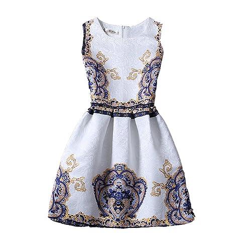 ZAY Womens White Contrast Blue Porcelain Print Flare Sleeveless Vintage Floral Dress