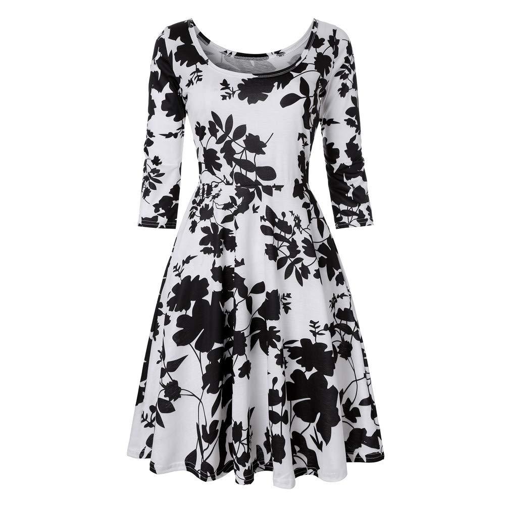 Damen Party Kleid,Pottoa Hülse mit DREI Vierteln Swing Kleid - Floral mit A-Linie Drucken Kleid für Party, Festival, Arbeit, Täglich