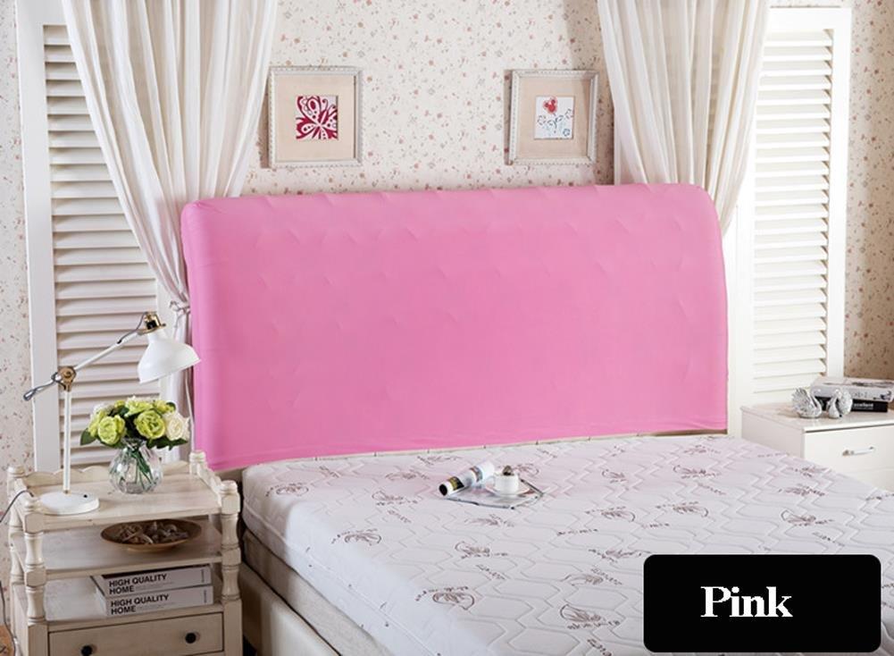 Funda para cabecero de cama de color sólido, elástica, a prueba de polvo, decoración para habitaciones, azul marino, Double (47-55')