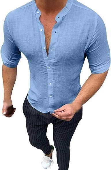 Berimaterry Ropa Hombre Camisa de Manga Larga con Bolsillo de ...