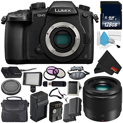 Panasonic Lumix DC-GH5 Mirrorless Micro Four Thirds Digital Camera (Body Only) + Panasonic Lumix G 25mm Lens (International Version) + 128GB Class 10 Memory Card Bundle For Sale