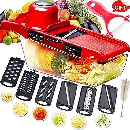 Mandolina cortadora multifuncional,cortador de verduras,trituradora de alimentos,picadora rallador,6 cuchillas afiladas de acero inoxidable ...