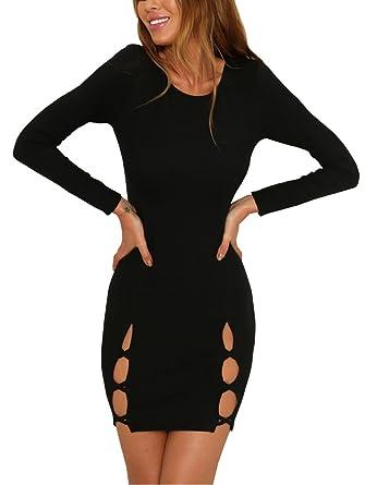 c62543ed2f2 Carolilly Femme Sexy Mini Robe de Club Moulante Noir Manches Longues Trouée  Fashion Mode  Amazon.fr  Vêtements et accessoires