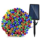 Image of Solar Christmas Lights ,Solarmks 8 Modes 220 LED Christmas String Lights with USB Charging,77ft Ambiance Lighting for Outdoor Decoration (Multi-Color)