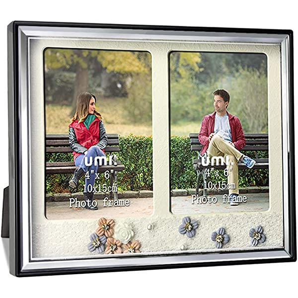 """Afuly Grey Double Photo Frame 6x4 Folding 2 Multi Picture Collage 6/""""x4/"""""""