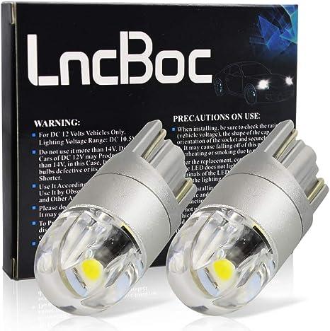 LncBoc Bombillas T10 Canbus 501 LED Coche 2SMD 2835LED W5W 2825 175 192 168 194 Wedge Lampara para coches 6500K Xen/ón Blanco de interior y exterior 12V Paquete de 10