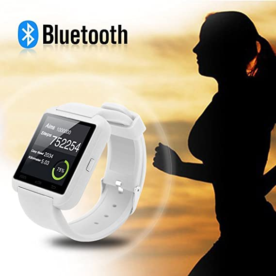 WorryFree Gadgets Bluetooth Smart Watch Fit for Samsung Galaxy S4/S5/S6 Edge Note 3/4/5 HTC Nexus Sony LG Huawei Android Smartphones (Black) (Whit