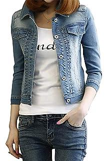 Kurzmantel Damen Vintage Elegante Jeansjacke Langarm Revers Slim Fit  Fashion Beiläufiges Classic Frühling Herbst Denim Outerwear 8ca05d34da