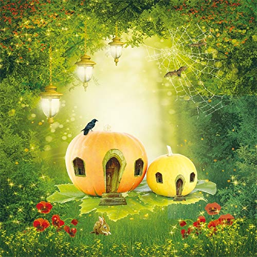 AOFOTO 8x8ft Wonderland Halloween Backdrop Vinyl Fairy Tale Forest Jungle Wild Flowers Lighting Lamp Spider Web Pumpkin Photography Background Cloth Video Drape Photo Studio Props -