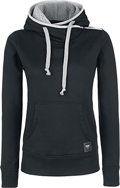 Black Premium by EMP No Bravery Jersey con Capucha Mujer Negro C3dYZhc