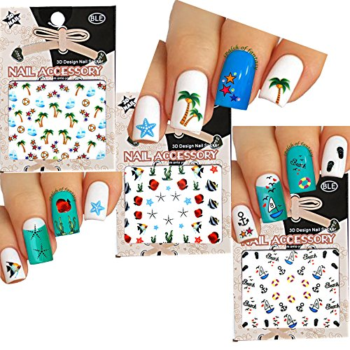 Fun in the Sun Beach Theme Nail Art 3D Stickers Decals Variety Pack of 3 /Palm Tree, Star Fish, Yacht, Stars, Flip Flop, Fish/ With Flower Stickers - Palm Tree Nail Art