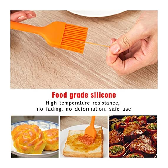 HOBOYER Silicone Basting/BBQ/Barbecue/Cooking/Pastry/Grill Meat Oil Brush, Food Grade Silicone Material Kitchen Gadgets High Temperature Brushes for Marinating, Cooking, Grilling,Baking (Orange) 5 【Material】The products use hiagh quality food grade silicone,BPA free,FDA Approved certification.Promise will not cause any harm to you and your family's health, please rest assured that use. 【Functions】Suitable for cooking, baking and Grill BBQ basting.Added ergonomic design, in line with the use of habits and cookware design. 【Durable】The bristles are flexible and can be used to brush the utensils cleanly, leaving no residue and being durable.Heat-resistant and easy on non-stick pans.