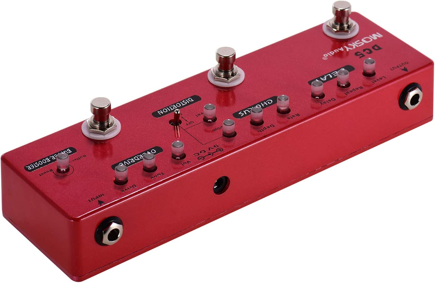 Muslady MOSKY DC5 6-en-1 Guitarra Multi-Efectos Pedal Delay + Chorus + Distortion + Overdrive + Booster + Buffer Full Metal Shell con True Bypass