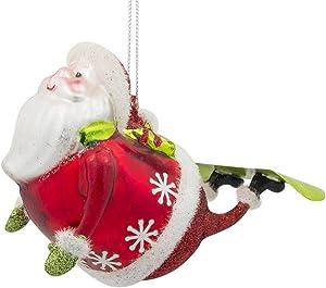 BestPysanky Santa on a Snowboard Skating Glass Christmas Ornament
